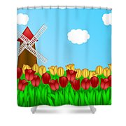 Dutch Windmill In Tulips Field Farm Illustration Shower Curtain