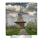 Dutch Windmill The Dezwaan On Windmill Island In Holland Michigan Shower Curtain