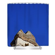 Dwelling Carved Out Of The Rock At Zelve In Cappadocia Turkey Shower Curtain