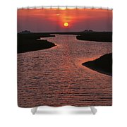 Dwelling Mounds In The Wadden Sea Shower Curtain