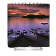 D.wiggett Canoes On Shore, Pink And Shower Curtain by First Light