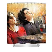 Dylan Moran And Tamsin Greig In Black Books Shower Curtain