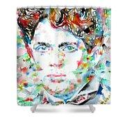 Dylan Thomas - Watercolor Portrait Shower Curtain