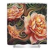 Dynamic Floral V  Roses Shower Curtain