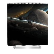 Dynamic Space Scene With Incoming Shower Curtain