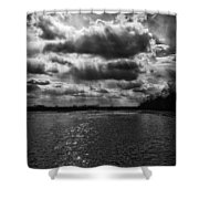 Dynamic Storm Over The Marsh Shower Curtain