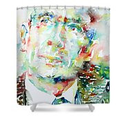 E. E. Cummings - Watercolor Portrait Shower Curtain