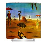 Spirit Of The Flying Umbrellas Edit 4 Shower Curtain