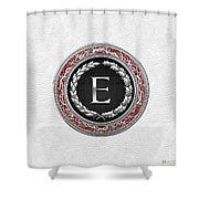 E - Silver Vintage Monogram On White Leather Shower Curtain