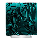 E Vincent Aquamarine Shower Curtain