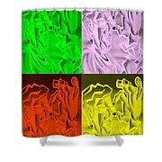 E Vincent Negative Quad Colors Shower Curtain