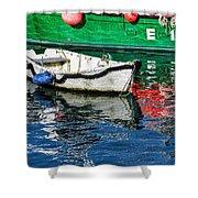 E17 Reflections - Lyme Regis Harbour Shower Curtain