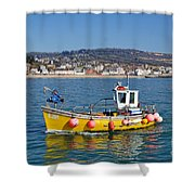 E201 Coming Into Harbour Shower Curtain