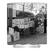 E85th. In Black And White Shower Curtain