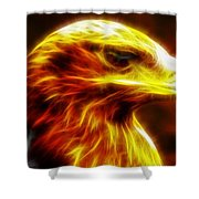 Eagle Glowing Fractal Shower Curtain