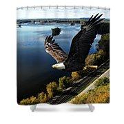 Eagle Over Mississippi  Shower Curtain