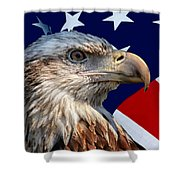 Eagle With Us American Flag Shower Curtain