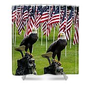 Eagles And Flags On Memorial Day Shower Curtain
