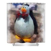 Ear Muff Penguin Photo Art Shower Curtain