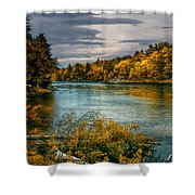 Early Autumn Along The Androscoggin River Shower Curtain