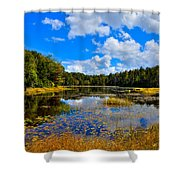 Early Autumn At Fly Pond - Old Forge New York Shower Curtain