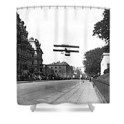 Early Biplane Flight Shower Curtain