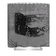 Early Blizzard At The Old Homestead Shower Curtain