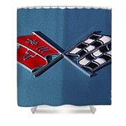 Early C3 Corvette Emblem Blue Shower Curtain