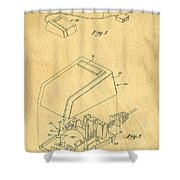Early Computer Mouse Patent Yellowed Paper Shower Curtain