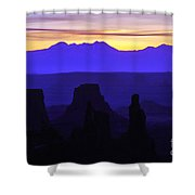 Early Dawn At Mesa Arch Overlook Shower Curtain