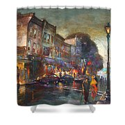 Early Evening In Main Street Nyack Shower Curtain