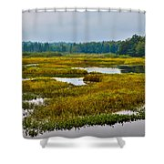 Early Fall On The Moose River - Old Forge New York Shower Curtain by David Patterson
