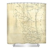 Early Hand-drawn Southern Texas Map C. 1795 Shower Curtain