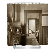 Early Kitchen With A Wood Kitchen Stove Circa 1906 Shower Curtain