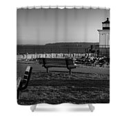 Early Morning At Bug Lighthouse Bw Shower Curtain