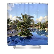 Early Morning At The Pool Shower Curtain