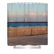 Early Morning Beach And Lighthouse Shower Curtain