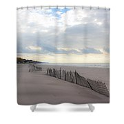 Early Morning Empty Beach Shower Curtain