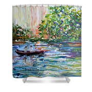 Early Morning Fishing Shower Curtain