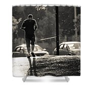 Early Morning Jog Shower Curtain