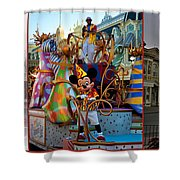 Early Morning Main Street With Mickey Walt Disney World 3 Panel Composite Shower Curtain