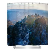 Early Morning Mist At The Bastei In The Saxon Switzerland Shower Curtain