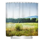 Early Morning Mist In The Valleys And Farmlands Of The Blue Ridge Mountains Shower Curtain