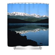 Early Morning Mountain Reflection Shower Curtain