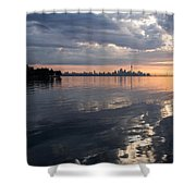 Early Morning Reflections - Lake Ontario And Downtown Toronto Skyline  Shower Curtain