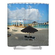 Early Morning Shade On A Tropical Beach   Shower Curtain