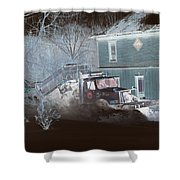 Early Morning Snow Plow Shower Curtain