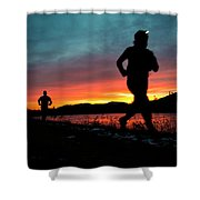Early Morning Trail Running Shower Curtain