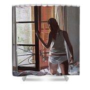 Early Morning Villa Mallorca Shower Curtain by Gillian Furlong