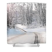 Early Morning Winter Road Shower Curtain